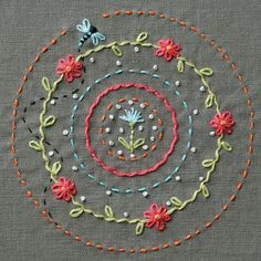 diy embroidery inspiration - circle and flowers