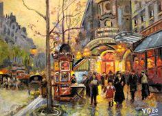 Original ACEO Boulevard de la Madeleine _Paris by V.Geo