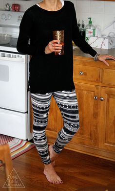 I have printed leggings but need some long solid sweaters to wear over them! Maybe black or a dark purple/plum.