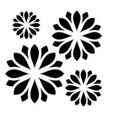 large zen flower collection stencil 1