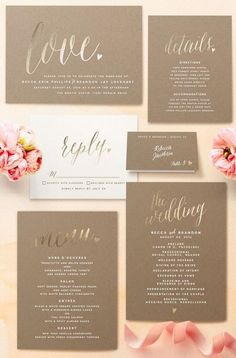 Potentially a little too mundane and colorless but pretty gold foil….DL Sweet spring wedding invitation trends perfect for your wedding - Wedding Party Wedding Invitation Trends, Spring Wedding Invitations, Wedding Stationary, Invitation Design, Invitation Cards, Wedding Favors, Invitation Suite, Invitation Ideas, Invites