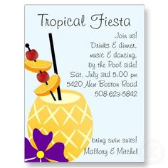 Shop Tropical Fiesta Pool Party Invite created by Beezazzler. Pool Bar, Creepy, Pool Party Invitations, Invites, Summer Pool, Graduation Announcements, Pool Designs, Party Gifts, Postcard Size