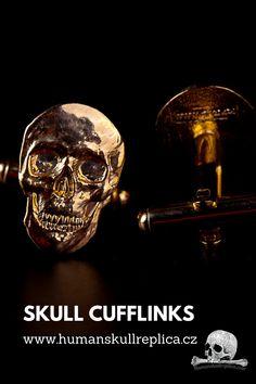 Originální manžetové knoflíky Skull Decor, Skull Art, Skull Fashion, Halloween Skull, Skeleton, Steampunk, Cufflinks, Metal, Shop