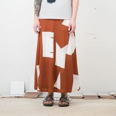 Rust brown maxi skirt with white Dream-print. Brown Maxi Skirts, Summer Nights, Design, Style, Fashion, Moda, Fashion Styles, Design Comics, Fashion Illustrations