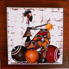 Petite rasta, assise sur des boules peinte sur toile 15x15 collée sur une toile 20x20 Bon week end à tous et tous