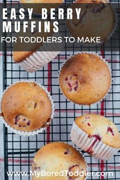 This easy berry muffin is a great recipe idea to cook with your kids - simple steps that even toddlers can be involved in Easy Meals For Kids, Healthy Eating For Kids, Toddler Meals, Kids Meals, Toddler Food, Toddler Activities, Healthy Living, Baking With Toddlers, Breakfast For Kids