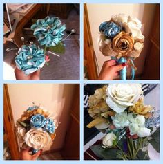 I personally hand-made this bouquet for my sister-in - law . She wanted a rustic, classy burlap, lace and Tiffany Blue wedding theme. Some of the flowers, tan silks and ivory burlap roses, are from Hobby Lobby. The Tiffany flowers were hand-made using the 2 websites below as inspiration. For the centers of each flower I used a boutineer pin(s) to create the center and also to pin the flower to a stem.  -asurges   http://www.oneprojectcloser.com/make-fabric-flowers-tutorial…