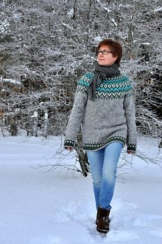 Ravelry: Project Gallery for Riddari pattern by Védís Jónsdóttir for Ístex Fair Isle Knitting Patterns, Fair Isle Pattern, Knit Patterns, Icelandic Sweaters, Wool Sweaters, Crochet Quilt, Knit Crochet, Knit Leg Warmers, Pulls
