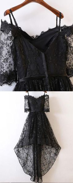 177fa0ef3a5 Cold Shoulder Black Lace High Low Prom Dress with Half Length Sleeves PM1400