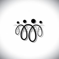 Family of four people abstract symbols(icons) using line loops. The icons are of father, mother, son & daughter in black colored lines with ...