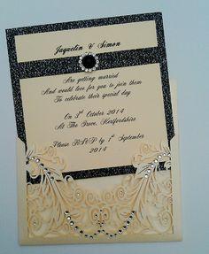 Black glitter and Ivory pocket invitation showing beautiful insert.