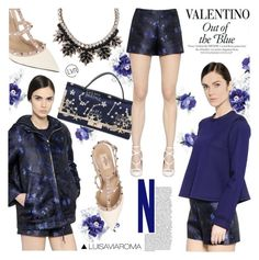 """Out of the Blue"" by luisaviaroma ❤ liked on Polyvore featuring moda, Valentino, Blue, ROCKSTUD, luisaviaroma, lvr y Vaneltino"