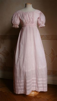 1824 dress of pink and white striped cotton (click through for more pics)