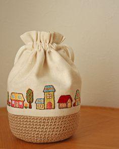家の刺繍巾着|* Slow Life *