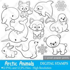 Arctic animals Digital Stamps Clipart