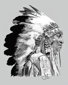 NZFINCH A4 indian chief skull, headdress, feathers digital ...