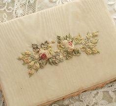 Antique 1920's Silk Ribbon Work ROSES