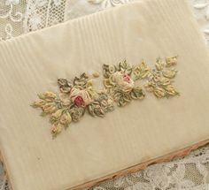 Antique 1920's Silk Ribbon Work ROSES