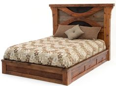 This refined rustic platform bed is made from old distressed barn wood in a design that tastefully balances rustic andcontemporary design. The platform gently raises you above the stress of the day. The two carved arches unite the soft honey barn beams and the course siding, bringing a modern sense into an otherwise rustic style