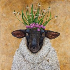 L'Assommoir She wore her finest coat to the party by Vicky Savage cre Art And Illustration, Illustrations, Sheep Paintings, Animal Paintings, Deco Champetre, Sheep Art, Whimsical Art, Pet Portraits, Folk Art