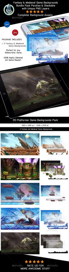 5 Fantasy and Medieval Game Backgrounds - Parallax & Stackable - Backgrounds Game Assets