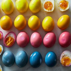 """Food 52 """"How to Make Pickled Eggs in Every Natural Color & Flavor Under the Sun"""" - Dye them pink with beets, yellow with turmeric, and blue with red cabbage! Easter Recipes, Egg Recipes, Recipes Dinner, Healthy Recipes, Pickles, Tapas, Purple Cabbage, Egg Dye, Caraway Seeds"""