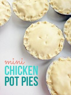 Mini chicken pot pie biscuits are made with real food ingredients! Plus, these mini chicken pot pie biscuits are family, freezer, and mom-friendly! Easy Pie Recipes, Cooking Recipes, Freezer Recipes, Detox Recipes, Drink Recipes, Individual Chicken Pot Pies, Mini Chicken Pot Pies Recipe, Single Serving Chicken Pot Pie Recipe, Individual Freezer Meals