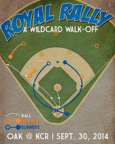 Kansas City Royals baseball print 'Royal Rally' by JustABitOutside