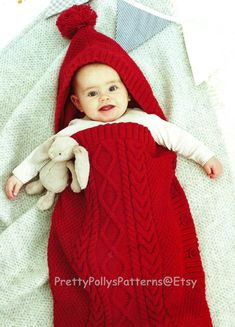 This PDF Knitting Pattern is for this Cosy Sleeping Bag and a Cocoon in a really lovely Cable Stitch.  Knitted in DK yarn. You would require between 7-10 X 50grm balls for the cocoon and 6-10 X 50grm balls for the sleeveless sack depending on the size required.  To fit ages 0 months to 3 years  All of my patterns are watermarked but are still very clear to read.