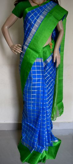 Check out this item in my Etsy shop https://www.etsy.com/in-en/listing/386179134/kuppadam-blue-color-checks-with-green