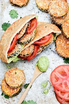 Baked Eggplant and Zucchini Sandwiches with Avocado Aioli #eggplant #zucchini #veggie