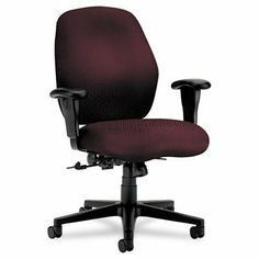 "Hon Mid-Back Pneumatic Task Chair, 30-1/2 by 31-1/2 by 40-1/2-Inch, Wine by Hon. Save 45 Off!. $281.09. Mid-back task chair with posture lock features deeply contoured foam that supports the body for all-day comfort. Control options encourage good posture. Curvilinear back has pronounced lumbar support. Other features include an integral headrest, shoulder-height recess to cradle upper spine, wave-formed seat to provide a natural ""settling in"" place, fully upholstered outer back and..."