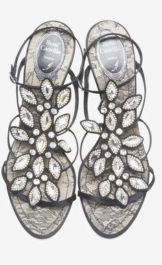 Rene Caovilla Black And Crystal Sandal