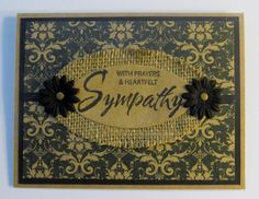 Sympathy card on kraft paper.  Black, brown with burlap accent.