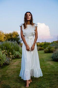 White Ruffle Maxi Dress | Mistwood Dress | Majorelle