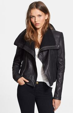Veda 'Max Classic' Leather Jacket at Nordstrom.com. Richly textured leather shapes a classic jacket with an asymmetrical zip closure and dramatically high collar that reveals a bit of tonal brushed-cotton lining. Rib-knit panels run under the long sleeves, creating a sleek, comfortable fit.