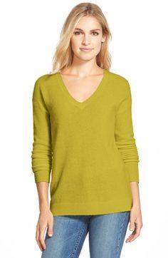 Halogen® V-Neck Lightweight Cashmere Sweater (Regular & Petite) available at #Nordstrom