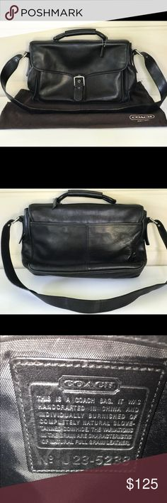 """BEAUTIFUL BLACK LEATHER COACH BRIEFCASE/SACHEL BEAUTIFUL VINTAGE BLACK LEATHER COACH BRIEFCASE/SACHEL/ LAPTOP / CROSSBODY  IN OVERALL GOOD CONDITION  16""""LENGTH 9""""DEEP 11.5 HEIGHT 21"""" STRAP DROP NO TRADES  / NO OUTSIDE POSH TRANSACTIONS TY AND HAPPY POSHING ! Coach Bags Laptop Bags"""