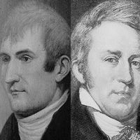 Black and white drawings of Lewis and Clark