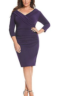 LANE BRYANT Women's Dress Purple 14 Control Tech Slimming Portrait Neck Bodycon #LaneBryant #ControlTechSlimmingPortraitNeckBodyconStretchDress #Formal