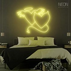 Custom Neon Signs, Led Neon Signs, Neon Home Decor, The Heat, Neon Lamp, Everyday Hacks, Neon Aesthetic, Angel And Devil, Neon Yellow