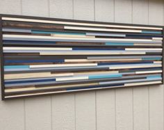 Modern Wood Sculpture Wall Art Lines 24 x 48 by moderntextures