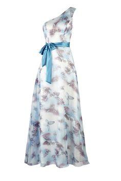 Escape - blue/purple butterfly print gown