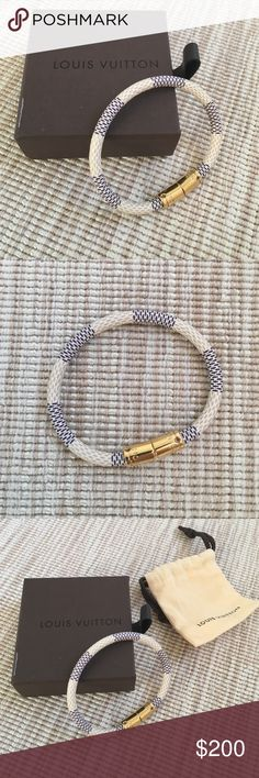 Authentic Louis Vuitton Keep It Bracelet White leather with gold clasp.  Never warn!  Box and dust bag included. Louis Vuitton Jewelry Bracelets