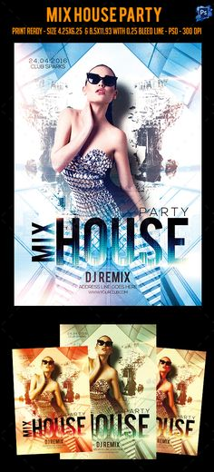 Mix House Party Flyer Template PSD. Download here: https://graphicriver.net/item/mix-house-party-flyer-/17547923?ref=ksioks