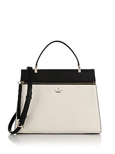 576a7e7d07 Kate Spade New York Shaw Street Snakeskin-Embossed Bicolor Leather Satchel  Spring 2015 Fashion
