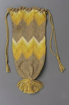 Drawstring bag. Western European (most likely 19th Century) Knit Silk. From the MFA Boston: 43.1062