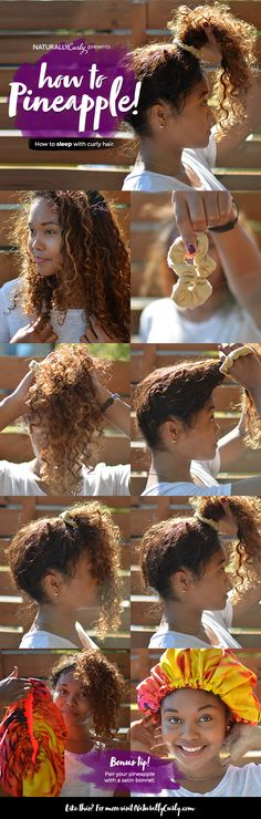 The Pineapple Method for Natural Hair | Tutorial - suggestions, instructions on the pineapple method, which is piling curly hair on top of the head when drying, sleeping, etc. to preserve the integrity of the curls. hair care and health, hair styling. lj