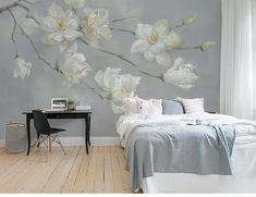 Abstract Oil Painting Flowers Branch Wallpaper Wall Mural, Hand Painted Flowers Branch Wall Mural, B
