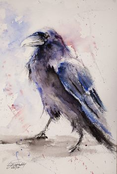 movie times About my painting: Another bird in my collection of wildlife animals, but first Raven. You have to agree that there is a something majestic about those creatures, wildly used i Crow Art, Raven Art, Bird Art, Crow Painting, Painting & Drawing, Watercolour Paintings, Painting Tattoo, Watercolours, Watercolor Bird